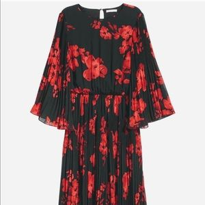 H&M Kimono Sleeve Red & Black Floral Midi Dress